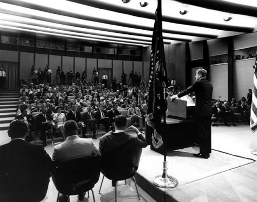 President John F. Kennedy, July 23, 1962, State Department Auditorium.