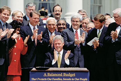 President Bill Clinton signs the Balanced Budget legislation in 1997.